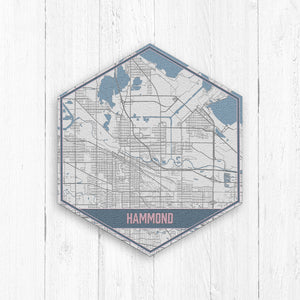 Hammond Indiana Street Map Blues Hexagon