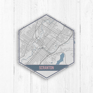 Scranton Pennsylvania Hexagon Street Map Print