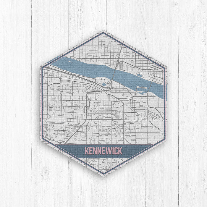 Kennewick Washington Street Map Hexagon