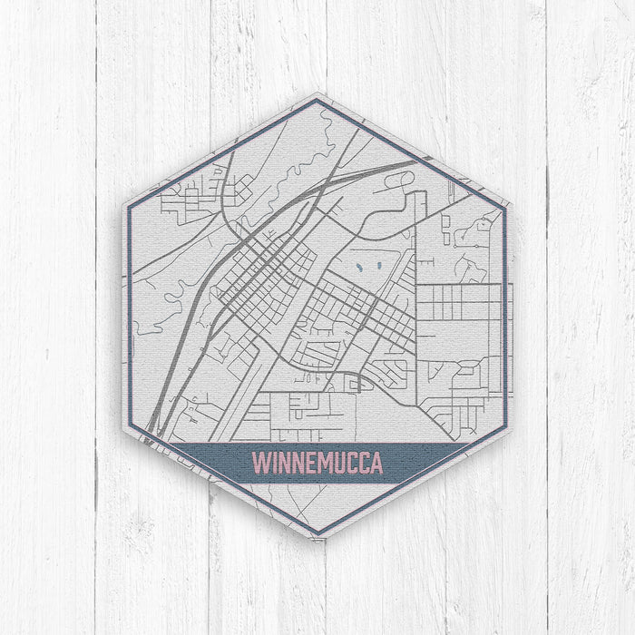 Winnemucca Nevada City Street Hexagon Map