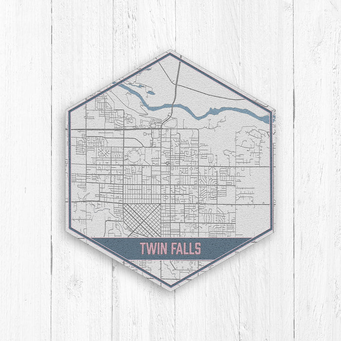 Twin Falls Idaho Hexagon City Street Map