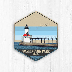 Washington Park Beach Hexagon Canvas
