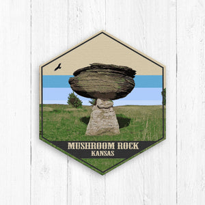 Mushroom Rock Kansas Hexagon Illustration