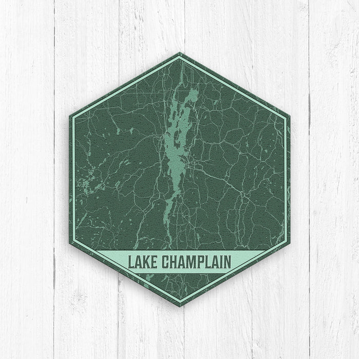 Lake Champlain New York Hexagon Print: Greens
