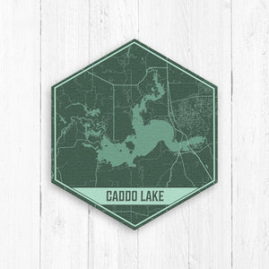 Caddo Lake Louisiana Hexagon Map Print
