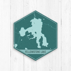 Yellowstone Lake Wyoming Hexagon Map Print