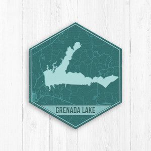 Grenada Lake Mississippi Teal Map