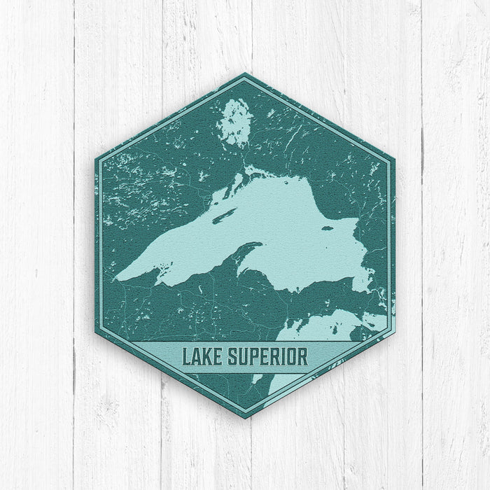 Lake Superior Michigan Hexagon Print: Teal