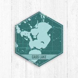Cass Lake Minnesota Hexagon Map Print