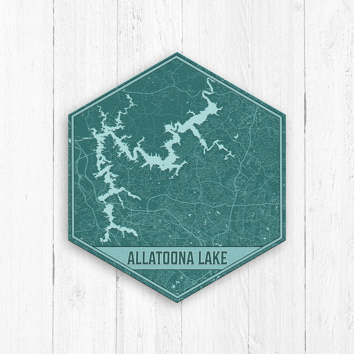Allatoona Lake Georgia Hexagon Map Print