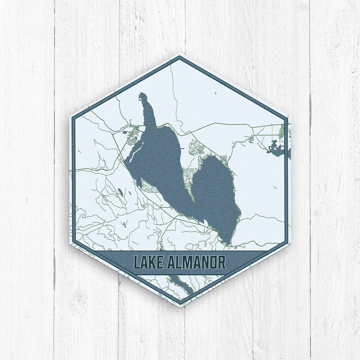 Lake Almanor California Hexagon Print: Blues