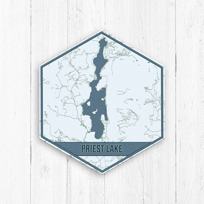 Priest Lake Idaho Print Hexagon Map