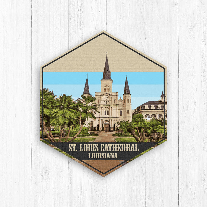 St Louis Cathedral Louisiana Hexagon Canvas Print