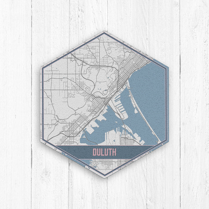 Duluth Minnesota Hexagon Street Map