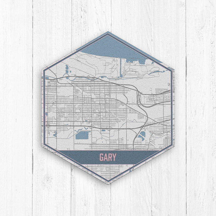 Gary Indiana Hexagon Street Map Print