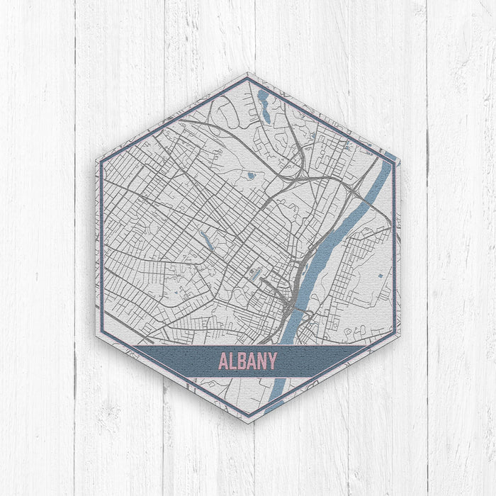 Albany New York Hexagon Street Map Print
