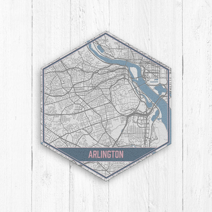Arlington Texas Street Map Hexagon