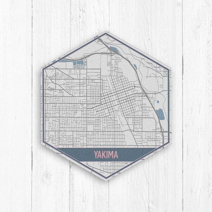 Yakima Washington City Street Map Hexagon