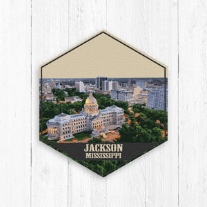 Jackson Mississippi Hexagon Illustration by Printed Marketplace