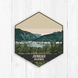 Juneau Alaska Hexagon Illustration Print