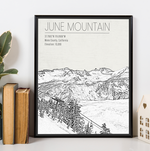 June Mountain California Ski Area | Hanging Canvas of June Mountain | Printed Marketplace