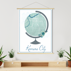 Kansas City Kansas Globe Map Print | Hanging Canvas Map of Kansas City | Printed Marketplace
