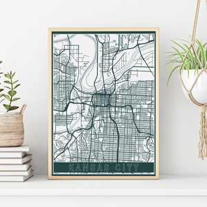 Kansas City Missouri Street Map | Hanging Canvas Map of Kansas City | Printed Marketplace