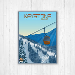 Keystone Colorado Modern Illustration Print | Hanging Canvas of Keystone Ski Resort | Printed Marketplace