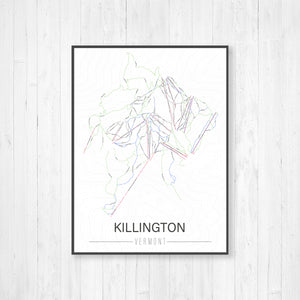 Killington Vermont Ski Trail Map | Hanging Canvas of Killington Ski Trail | Printed Marketplace
