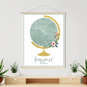 Kingsport Tennessee Street Map Globe | Hanging Canvas
