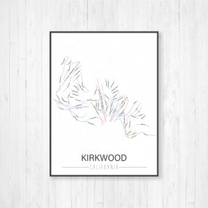 Kirkwood California Ski Trail Map by Printed Marketplace