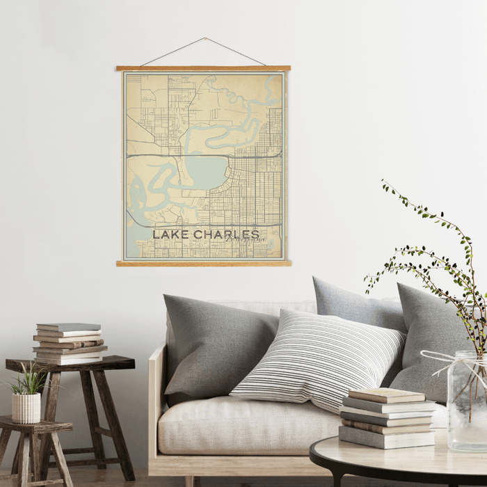 Lake Charles Louisiana Street Map Print: Vintage