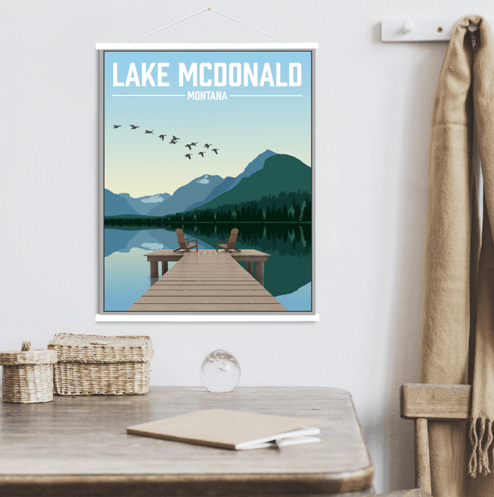 Lake McDonald Montana Illustration Print