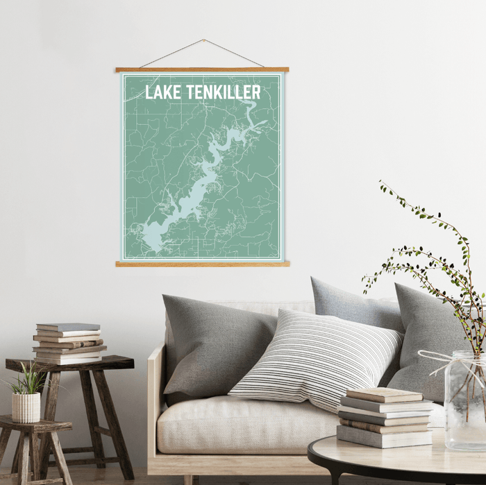 Lake Tenkiller Oklahoma Street Map Print: Nautical