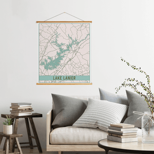 Lake Lanier Georgia Street Map Print: Vintage