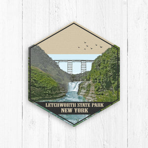 Letchwork State Park New York Hexagon Illustration by Printed Marketplace