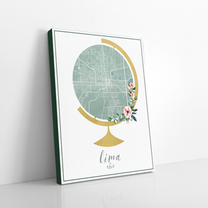 Lima Ohio Watercolor Globe Map | Hanging Canvas