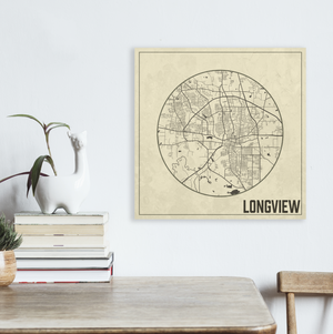 Longview Texas Square Street Map | Hanging Canvas Map of Longview | Printed Marketplace
