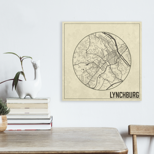 Lynchburg Virginia Weathered Street Map | Hanging Canvas Map of Lynchburg | Printed Marketplace