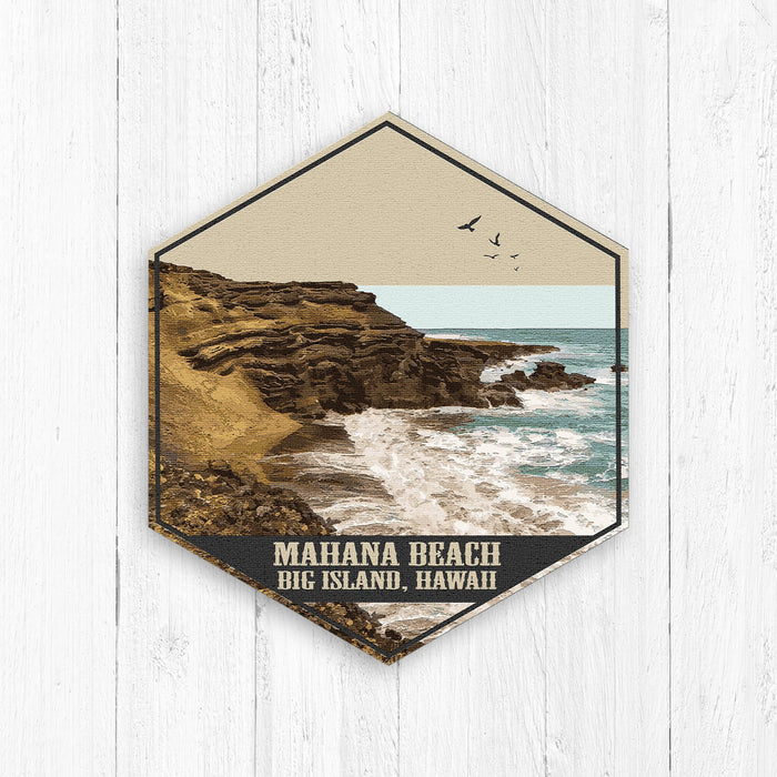 Mahana Island Hawaii Hexagon Illustration