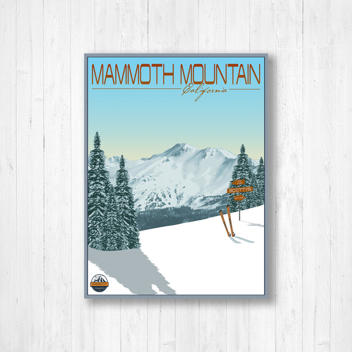 Mammoth Mountain Ski Resort Modern Illustration