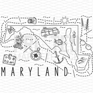 Illustrated Maryland Shirt By Printed Marketplace