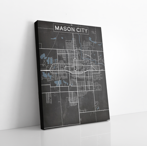 Mason City Iowa Charcoal Street Map