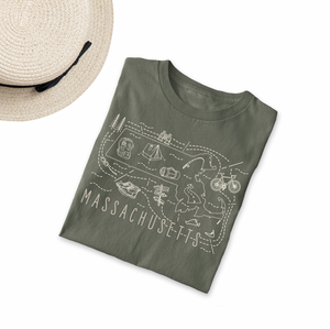 Illustrated Massachusetts Shirt By Printed Marketplace