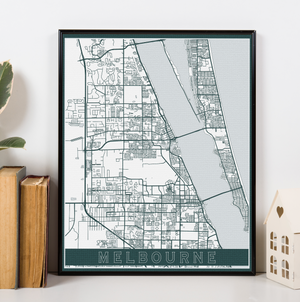 Melbourne Florida Hanging Canvas Map by Printed Marketplace