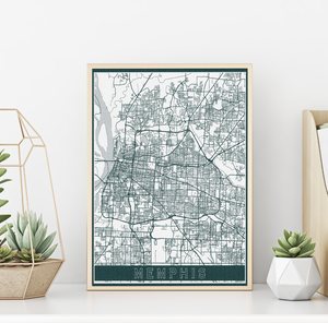 Memphis Tennessee Urban Street Map | Hanging Canvas Map of Memphis | Printed Marketplace
