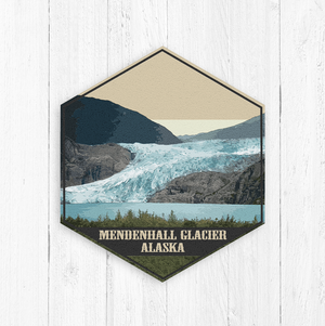 Mendenhall Glacier Juneau Alaska Hexagon Illustration