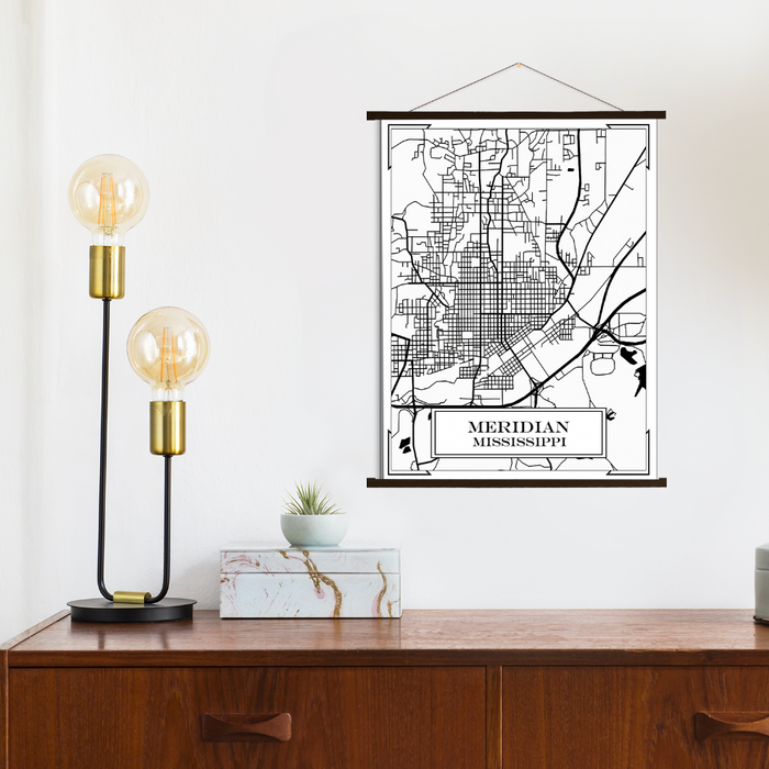 Meridian Mississippi City Street Map Print