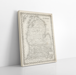 Hanging Canvas Map of Michigan by Printed Marketplace