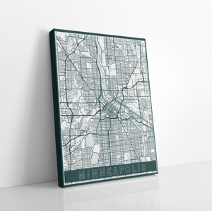 Minneapolis Urban Street Map | Hanging Canvas Map of Minneapolis | Printed Marketplace